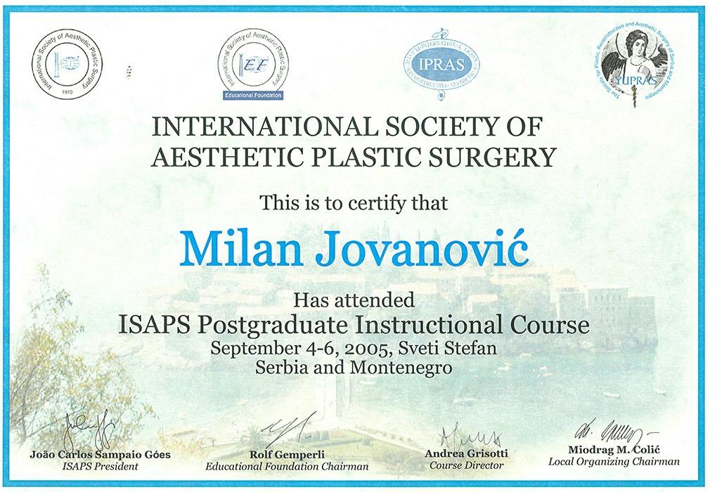 Diploma hirurga, sertifikat ISAPS
