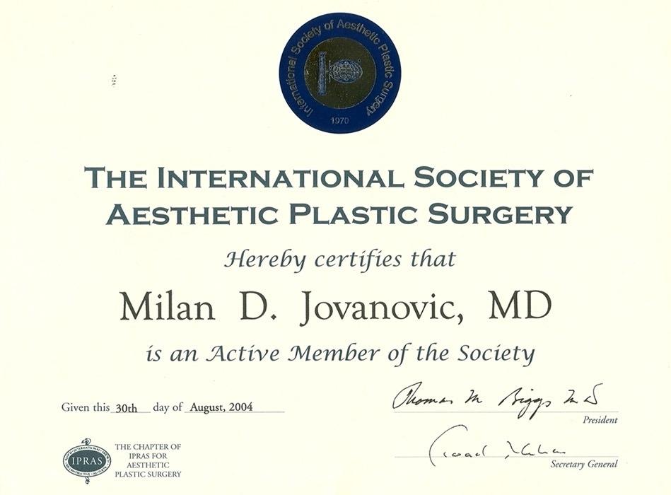 Diploma hirurga, sertifikat, ISAPS