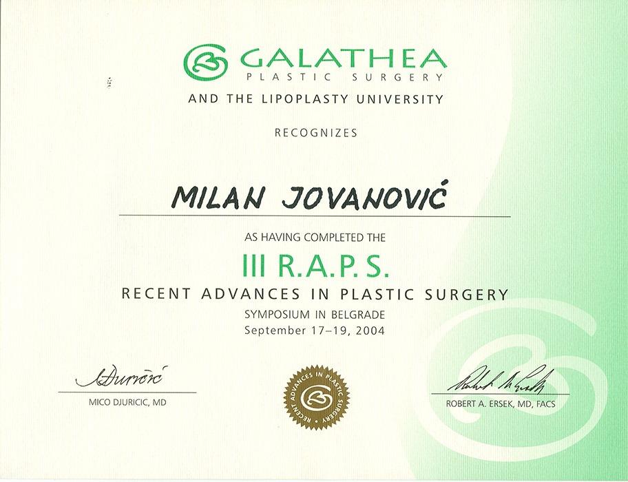 Diploma hirurga, sertifikat, RAPS III
