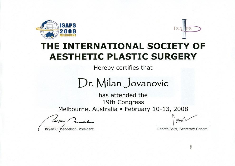 Diploma hirurga, sertifikat, ISAPS, Australija