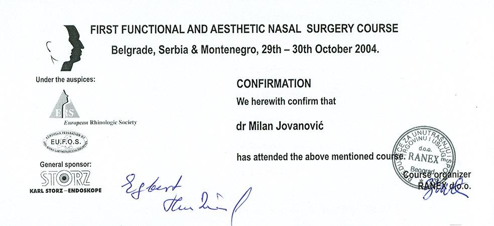 Diploma hirurga, sertifikat, nazalna hirurgija