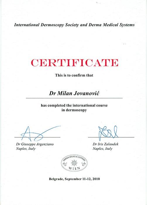 Diploma hirurga, sertifikat, dermoskopija