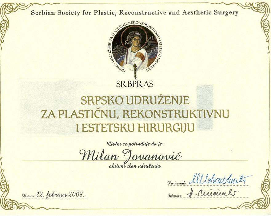 Diploma hirurga, sertifikat, Srpsko udruženje za plastičnu, rekonstruktivnu i estetsku hirurgiju