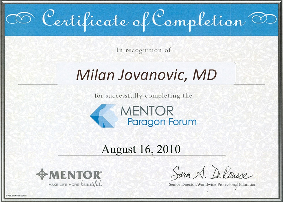 Diploma hirurga, sertifikat, Mentor