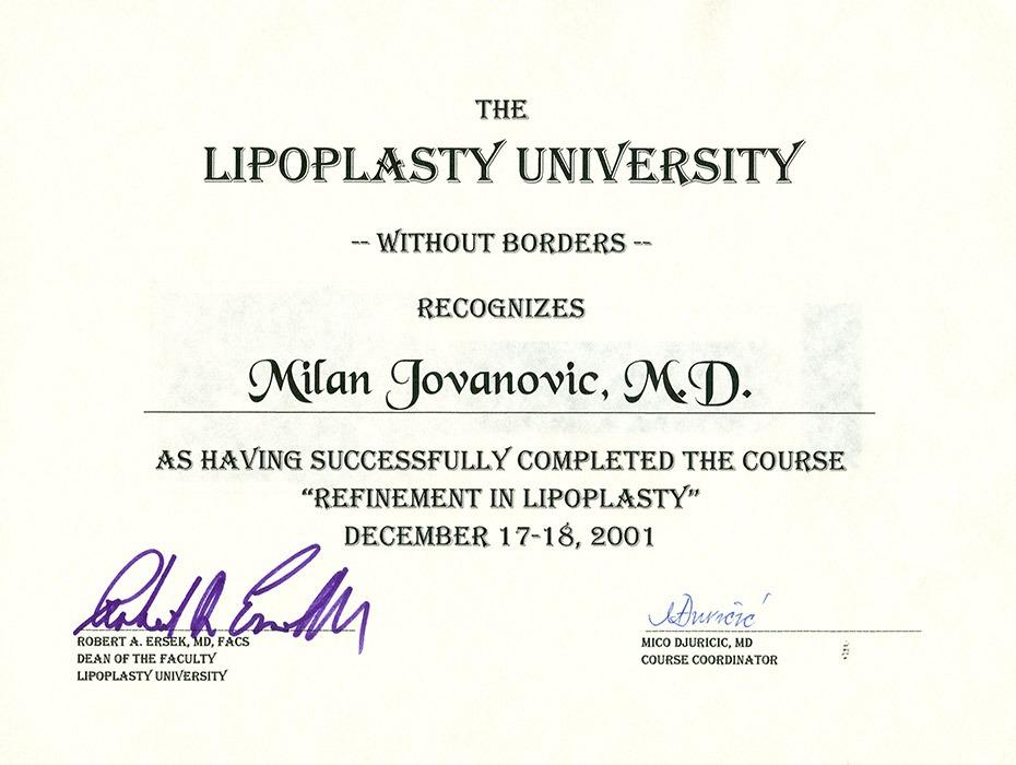 Diploma hirurga, sertifikat, liposukcija