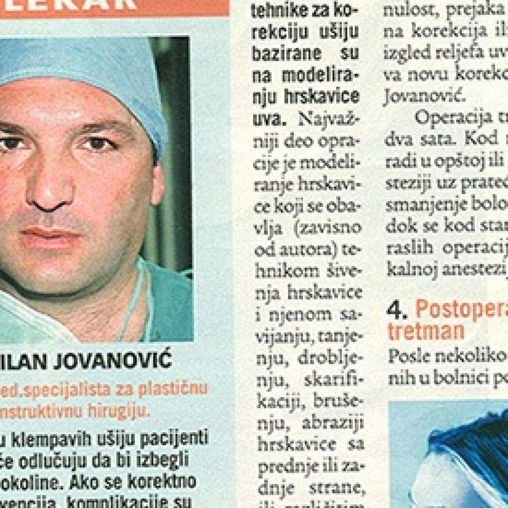 Operacija ušiju, isečak iz novina